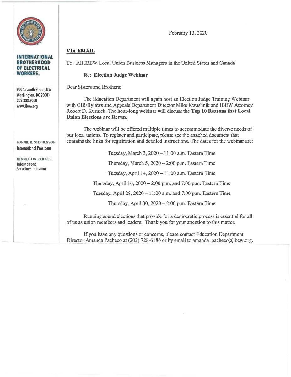 Election Judge Webinar Info