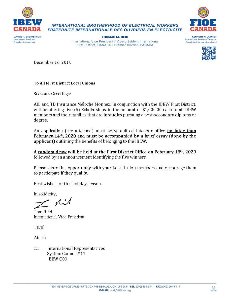Scholarship Letter